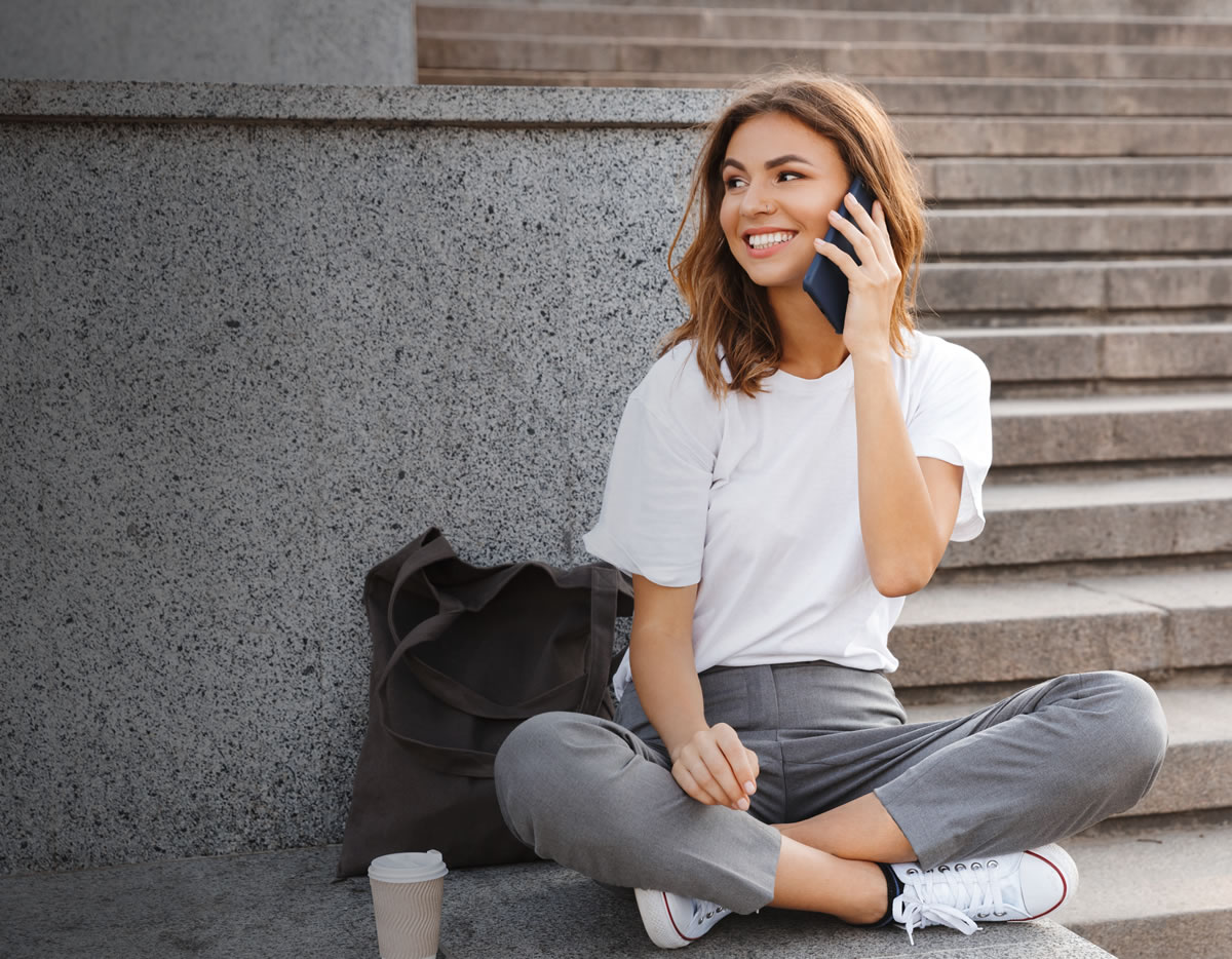 woman on phone background
